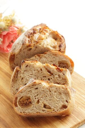 Homemade fig French bread on board