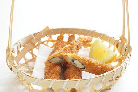 Japanese food, Shishamo deep fried and lemon in bamboo basket