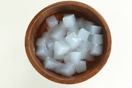 nata de coco in wooden bowl fermentation of coconut water for healthy dessert