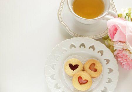 Homemade bakery, heart shaped jam cookie