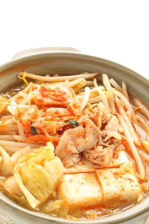 Homemade korean cuisine, pork and kimchi hot pork