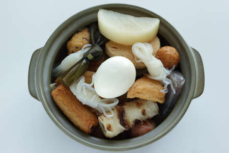Japanese food, simmered fish ball and radish with kombu for winter Oden food ingredient