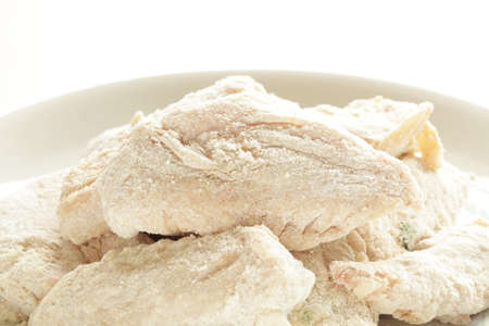Korean food, marinated chicken and flour for prepared cooking of Fried chicken Banque d'images