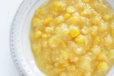 Prepared cream corn in bowl for cooking ingredient 版權商用圖片