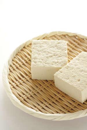 Healthy food ingredient, tofu on bamboo basket
