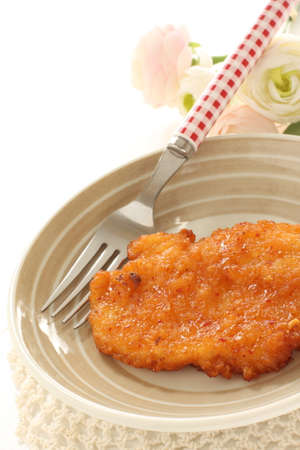 honey fried chicken on dish with copy space Stock fotó