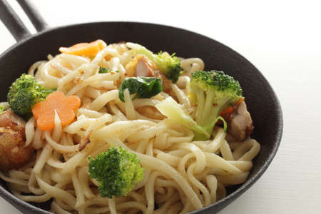 Chinese food, chicken and vegetable fried noodles Stock fotó