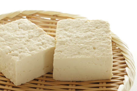 Chinese food ingredient, healthy Tofu on bamboo basket Stock fotó