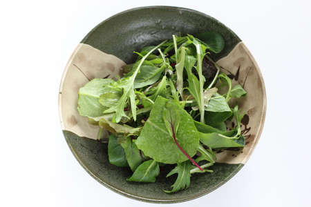Baby spinach salad in bowl with copy space