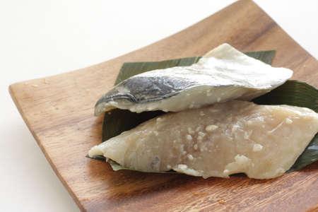 Japanese food, Shio Koji marinated Mackerel oily fish on wooden plate Stock fotó