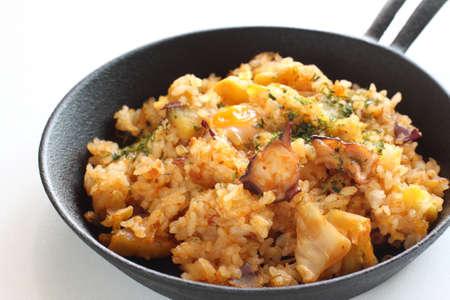 Korean food, octopus and sweet potato fried rice Stock fotó