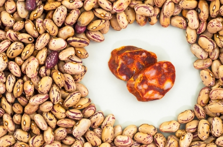 Pinto Beans spanish sausage for cooking photo