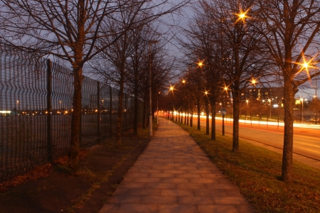 Autumnal street after the dusk photo