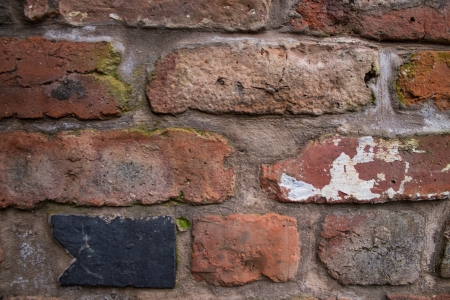Old brick wall of obsolete industrial building photo