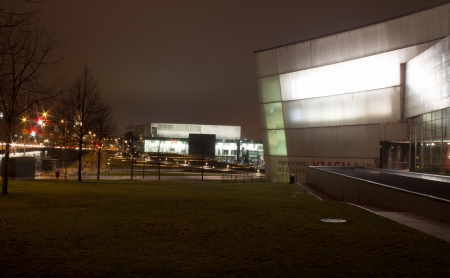 boxing day: Helsinki, Finland - December 26, 2013 - Kiasma and Helsinki Music Centre illuminated at Boxing Day 2013