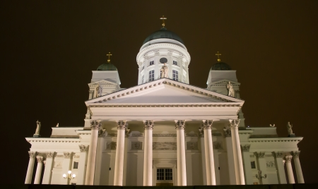 Helsinki, Finland - December 26, 2013 - Helsinki Cathedral in night illuminations at Boxing Day