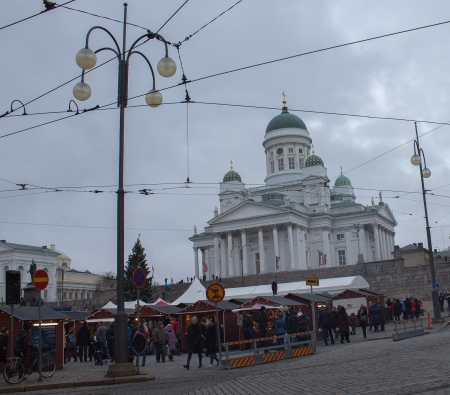 Helsinki, Finland - December 21, 2013 - Christmas Market in Senate Square