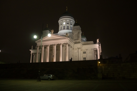 Helsinki, Finland - December 26, 2013 - Illuminated Helsinki Cathedral, Boxing Day 2013