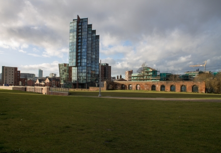 New Islington residential area, green grass and clouds