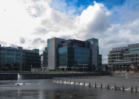 AIB International Centre and a fountain, Dublin, Ireland
