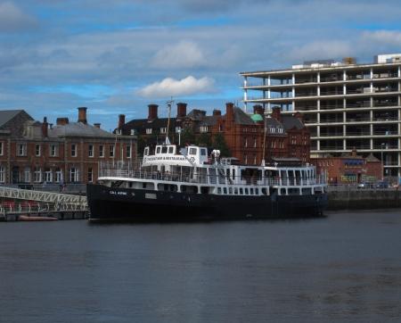 Cill Airne restaurant boat in IFSC Quay, Dublin, Ireland