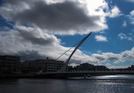 Samuel Beckett Bridge in a sunny day, Dublin, Ireland