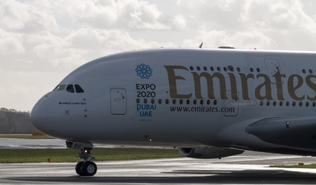 Manchester, United Kingdom - February 16, 2014  Emirates Airlines Airbus A380 arriving to Manchester Airport, front of the plane
