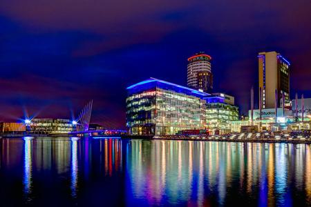 lowry: Manchester, United Kingdom - February 25, 2014  MediaCityUK skyline viewed from The Lowry