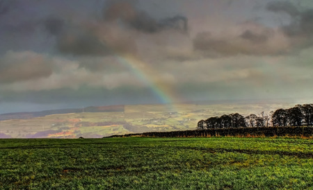 wensleydale: Rainbow over Yorkshire Dales, Picture taken in Keighley, West Yorkshire, England Stock Photo