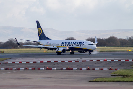 Manchester, United Kingdom - February 16, 2014  Ryanair Boeing 737 at Manchester International Airport