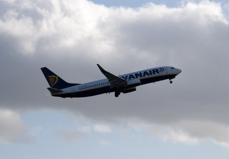 Manchester, United Kingdom - February 16, 2014  Ryanair Boeing 737 taking off from Manchester International Airport