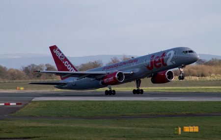 Manchester, United Kingdom - February 16, 2014  Jet2 Airways Boeing 757 about to take off from Manchester International Airport