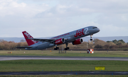 Manchester, United Kingdom - February 16, 2014  Jet2 Airways Boeing 757 airplane taking off from Manchester Airport