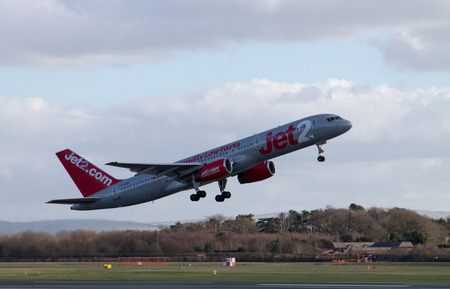 Manchester, United Kingdom - February 16, 2014  Jet2 Airways Boeing 757 plane taking off from Manchester International Airport