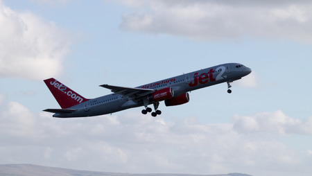 Manchester, United Kingdom - February 16, 2014  Jet2 Airways Boeing 757 taking off from Manchester International Airport