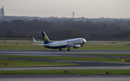 Manchester, United Kingdom - February 16, 2014  Ryanair Boeing 737 landing to Manchester International Airport