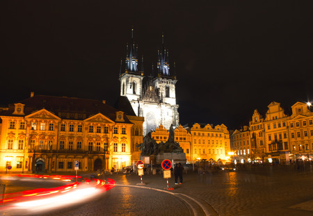 Old Town Square, after dark, Prague, Czech Republic