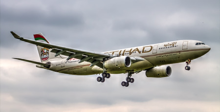 airways: Manchester, United Kingdom  Etihad Airways Airbus A330 landing to Manchester Airport HDR