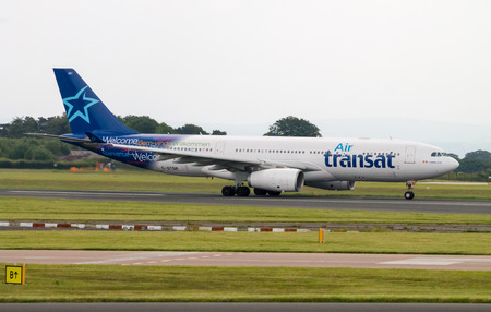 Manchester, United Kingdom - June 14, 2014  Air Transat Airbus A330 taxiing, Manchester International Airport