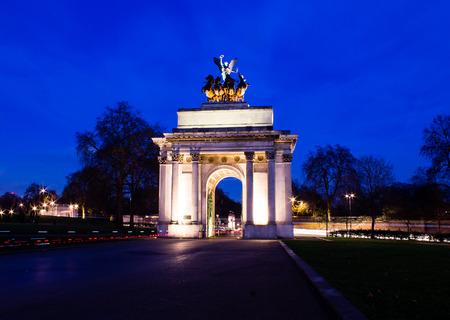 Wellington Arch at Dusk. London, United Kingdom photo
