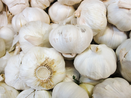 Garlic Bulbs, piled up on display photo