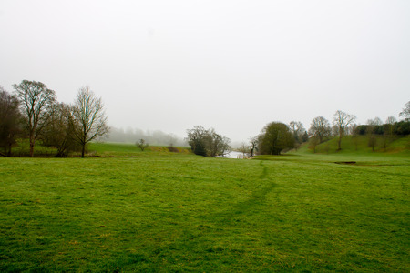 trecking: Beautiful and misty scenery in Bolton Abbey, Wharfedale, North Yorkshire, UK