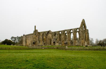 wharfedale: Hermoso paisaje y brumoso en Bolton Abbey, Wharfedale, North Yorkshire, Reino Unido