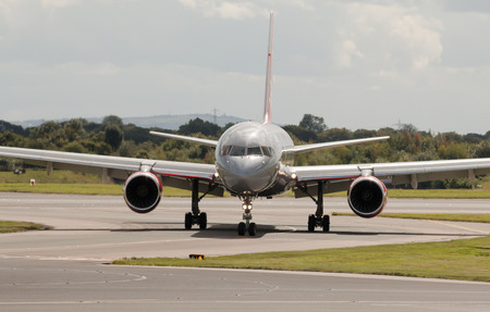 boeing: Jet2 Boeing 757 narrow-body passenger plane taxiing, Manchester International Airport, United Kingdom.
