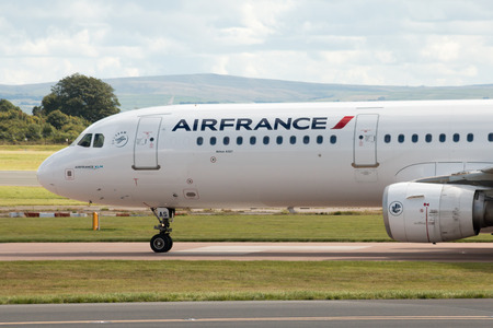 airbus: Air France Airbus A321 narrow-body passenger plane F-GTAS taxiing, Manchester International Airport, United Kingdom. Editorial