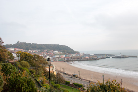 north yorkshire: Scarborough seafront at dawn. Scarborough, North Yorkshire, United Kingdom. HDR.