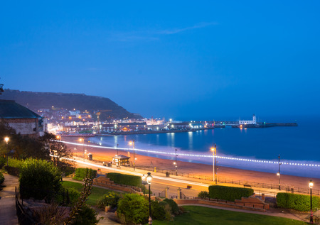 Scarborough South Sands in the evening during blue hour. Scarborough, North Yorkshire, United Kingdom Stock Photo