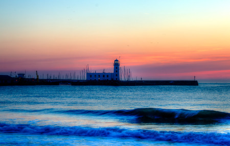 hdr: Scarborough Lighthouse at Dawn. HDR.