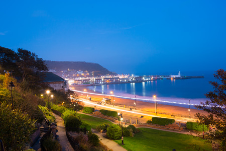 north yorkshire: Scarborough South Sands in the evening during blue hour. Scarborough, North Yorkshire, United Kingdom Stock Photo