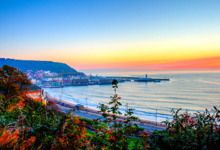 north yorkshire: Scarborough seafront during cloudy day. Scarborough, North Yorkshire, United Kingdom.